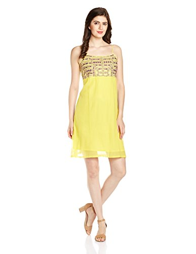 Global Desi Women's Cotton A-Line Dress (JY350098-DR-156_Yellow_Large)
