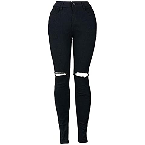 Sannysis pantalones vaqueros largos pantalones rotos negro
