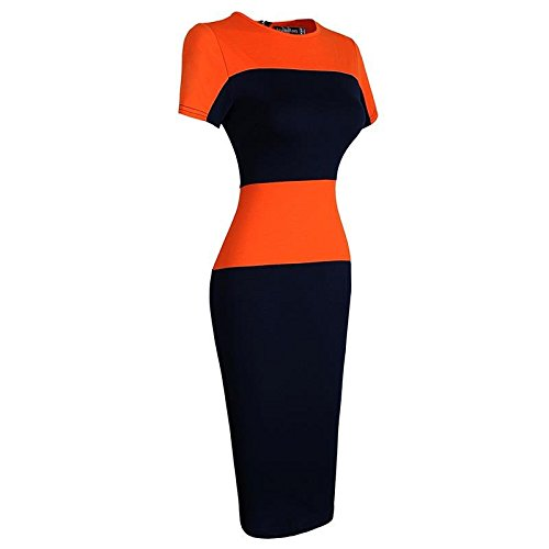 Jeansian Femmes Fashion Slim Robe Retro Stripe Manches Courtes Slim Sexy Dress WKD273 Orange