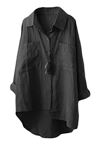 Mallimoda Damen Leinen Blusen Langarmshirt Große Größen Freizeit Tunika Oberteil Locker Hemd Shirts Schwarz M