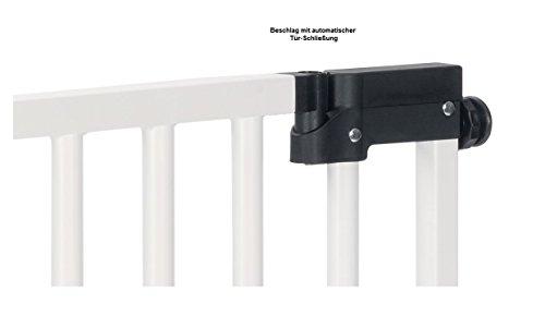 Impag XXL Türschutzgitter Treppenschutzgitter 95 – 143 cm mit extrabreiter Komfort-Tür selbstschließend – zum Klemmen Weiß - 4