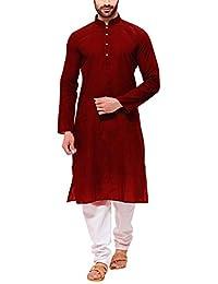 Tant Ghar khadi Cotton Full Sleeves Blended Brown Kurta For Men