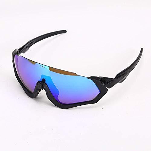 TIANOKLN Winddichte Brille mit Motorrad-Augenschutz, Outdoor-Sport-Fahrrad-Reitbrille, Sonnenbrille, alle schwarz + blau