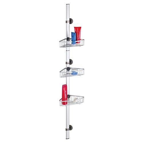 mDesign AFFIXX estantería de ducha – Sistema autoadhesivo – Práctica estantería esquinera con estantes para ducha - Accesorios de baño adhesivos - Aluminio
