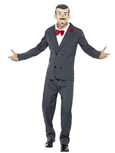 erdbeerclown - Herren Männer Kostüm Slappy die Puppe Bauchredner mit Hose Jacke vorgetäuschtem Hemd mit Fliege und Maske, perfekt für Halloween Karneval und Fasching, L, Grau