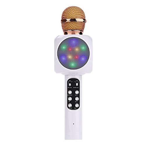 QMKJ Handy drahtlose Bluetooth Mikrofon Bluetooth Lautsprecher USB-Mikrofon 3D Surround-Sound FM Radio 4 Farben,White