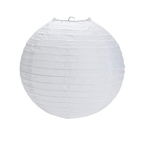Yizhet 10 x 20cm weiße Papier Laterne Lampions Rund Lampenschirm Papierlaterne Hochtzeit Party Dekoration Ballform Weihnachtsdekoration (8