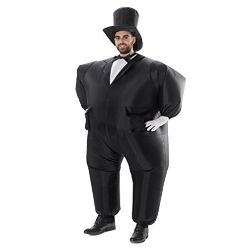 s Kostüm,Fatsuit Aufblasbar Smoking Fett Anzug, Koch Fasching Karneval Party Outfit, Männer Cosplay Suit Spielzeug,Erwachsene Fun-Bekleidung Partysuit (A, Schwarz) ()