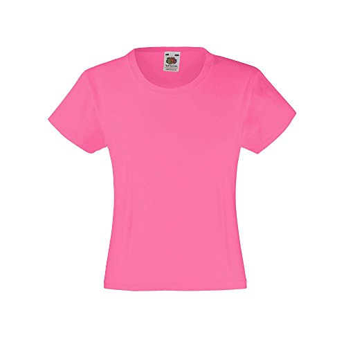 Fruit of the Loom - Mädchen T-Shirt 'Girls Valueweight T' Age 5-6,Fuchsia (Kinder 6 Leichte T-shirt)