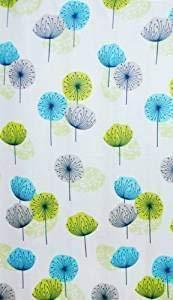 KAV Löwenzahn Mosaic Root Design Duschvorhang aus Stoff, Pusteblume Lime Grün Blau, 220 x 180