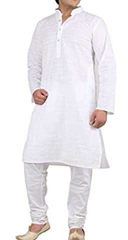 Men's Traditional Pure Cotton White Chikan Embroidered Kurta & Churidar Set By Royal Kurta