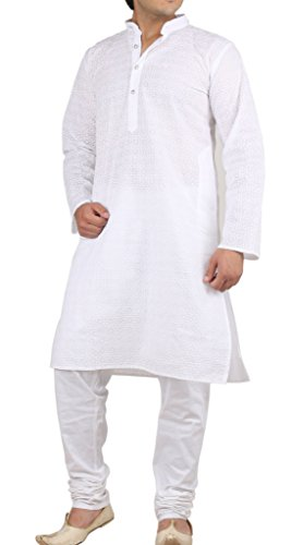 Royal Men's Traditional Pure Cotton White Chikan Embroidered Kurta & Churidar Set (Chikan Kurta)