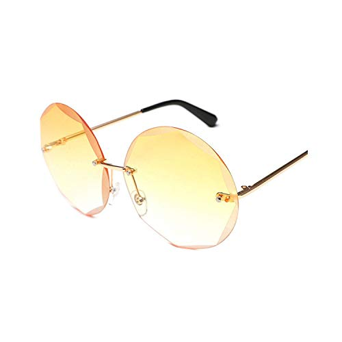 Sport-Sonnenbrillen, Vintage Sonnenbrillen, Round Cut Rimless Sunglasses Women Men Vintage Fashion Gradient Sun Glasses NEW Stylish Female Male Eyeglasses Gifts 04