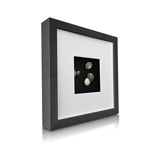 Classic by Casa Chic - Quadratischer Box-Bilderrahmen aus Echtholz - Schwarz - 23x23 cm und 4,5 cm...