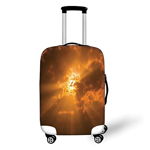 Travel Luggage Cover Suitcase Protector,Sky Decor,Sun Through The Clouds in The Sky Sunburst View Decorating Picture Artwork,Orange,for Travel,L -