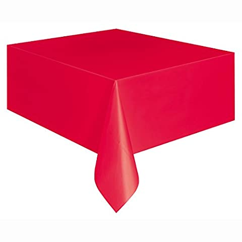 Red Plastic Tablecloth, 9ft x 4.5ft
