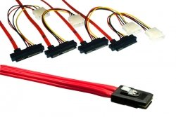 SAS Kabel SFF-8087 auf 4 x SFF-8482, Länge 1m Mini SAS 36 pin to 4 x data/pwr combo (Combo Pw)