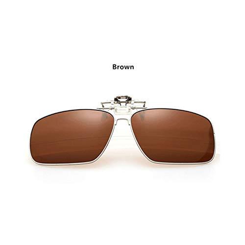 FGRYGF-eyewear2 Sport-Sonnenbrillen, Vintage Sonnenbrillen, Men Full Frame Polarisiert Clip On Sunglasses Men's Women's UV400 Myopia Filp On Sun Glasses Driving Night Vision Lens Brown