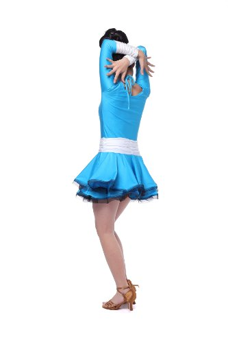 Colorfulworldstore Reguläres Mädchen/Frauen Turnierkleid für Lateinamerikanische Tänze-Cha cha cha Latin Rumba Samba Kleid (Lady-S-155CM Höhe, Weiß+Natur)