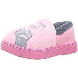 Zapatillas de Estar por casa Gato para niña niño Pantuflas Invierno Interior Suave Casa Caliente Zapatos Antideslizantes Peluche de Animales EU 23 / CN 24