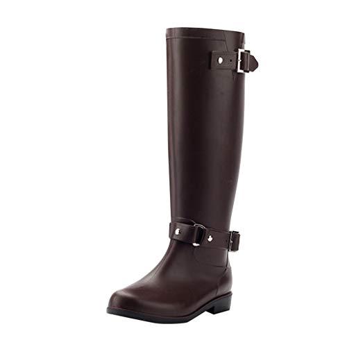 Wellies/Dorical Damen 40 cm Tall Waterproof Lang Rain Regenstiefel Boots Gummistiefel mit Reißverschluss Blockabsatz Wasserdicht Stiefel Klassisch Freizeit Schuhe für Frauen 36-41EU(Braun,39 EU) - Rosa Wellies