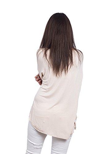 Abbino 6683 Tops T-shirts Femmes Filles - Fabriqué en Italie - 4 Couleurs - Transition Printemps Été Automne Plaine Manches Longues Elegant Classique Vintage Casual Sexy Party Rose (Art. 6683-1)