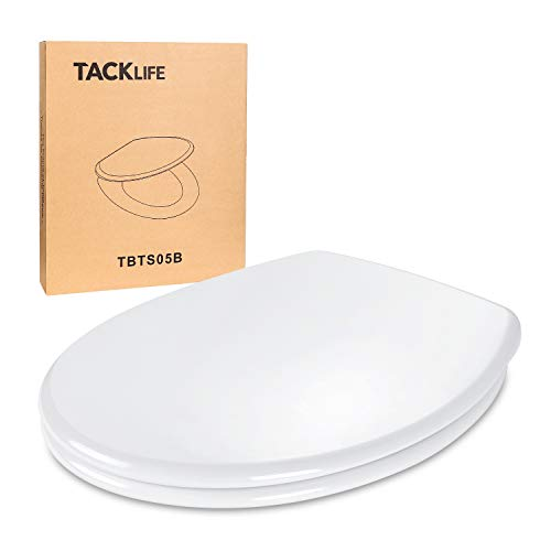 Sedile wc, tacklife copriwater universale con chiusura ammortizzata & dimensione standard & montaggio rapido & anti batterico, coperchio wc bianco non ingiallamento, forma ovale di materiale robusto