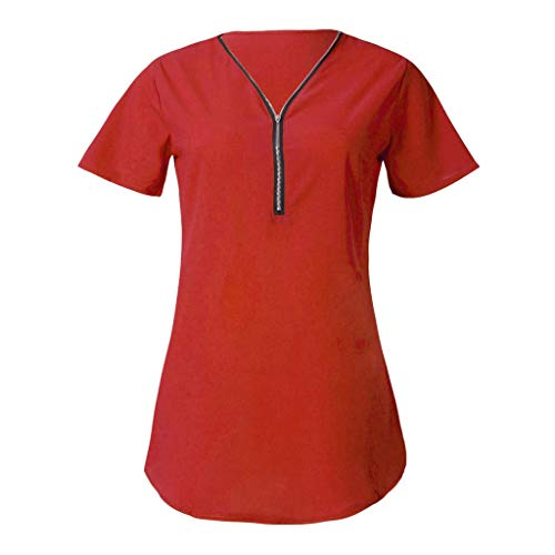 KIMODO Damen T-Shirt mit Reißverschluss, V-Ausschnitt Kurzarm Bluse Sommer Einfarbig Lässiger Oberteile Tops Große Größen Neu 2019 -