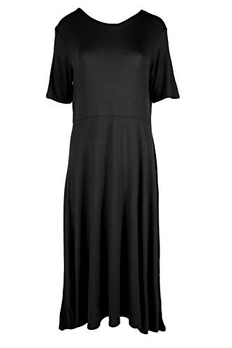 Womens Short Cap Sleeve Midi Ladies Tea Plain A-line Skater Swing Flared Dress Plus Size (UK 28/30) Black