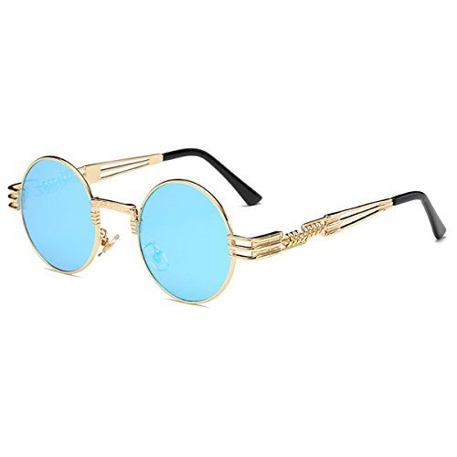 TEMPO Round Metal Frame Sunlasses Steampunk Vintage Driving Polarized Glasses with Spring Frame for Men and Women(Gold Frame/Ice Blue Lens)