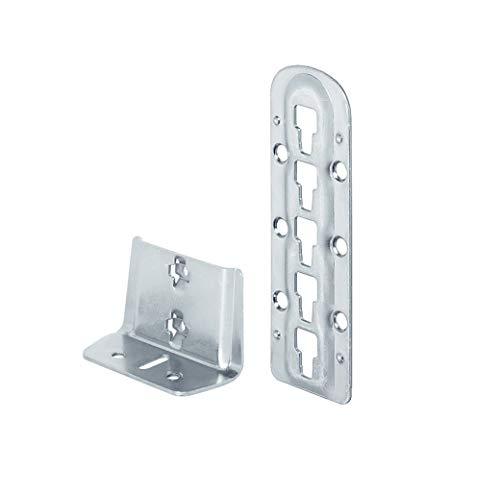 Gedotec Bettverbinder Bettbeschlag nachrüsten Einhängebeschlag höhen-verstellbar für Mittelbalken- und Lattenrostauflage | Stahl blau verzinkt | Höhe: 140 mm | 1 Stück - Bettwinkel Stahl für Betten