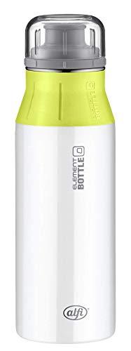 alfi 5357.108.060 Trinkflasche elementBottle, Edelstahl White-Lime 0,6 l – Spülmaschinenfest