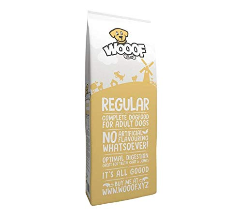 Jetzt neu: Wooof Regular 15kg kaltgepresstes Hundefutter mit Rind, natürliche Zutaten, hoher Fleischanteil, leicht verdaulich, ohne Weizengluten, Trockenfutter