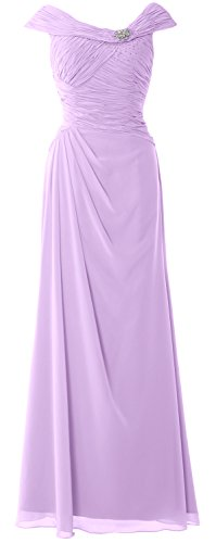 MACloth Women Cap Sleeves Boat Neck Formal Gown Long Mother of the Bride Dress Lavendel