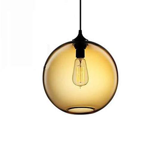 ZJG Amerikanischer Glas Hängeleuchte Modern minimalistischer 5 Farben Pendelleuchte Persönlichkeit Arbeitszimmer Balkon Restaurant Café Einkaufszentrum Dekoration Licht 25 * 22cm E27 Ohne Lichtquelle -