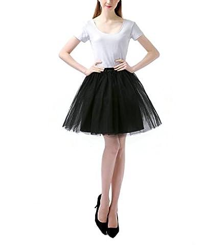 Jupe Courte Bal Ballet Tulle en dentelle Costume Tutu Femme Jupon Princesse Bouffée Plissé Mini-jupe pour Danse Cosplay Déguisement Elastique Soirée Noir