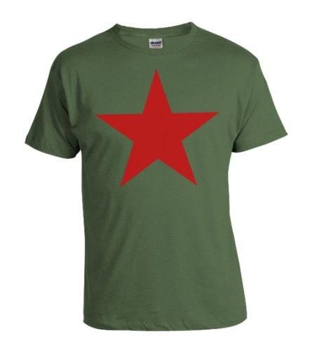 T-Shirt Stern der Revolution Viva la Revolucion in oliv und Roter Druck S-XXXXL (XL) (Roter Stern Grün T-shirt)