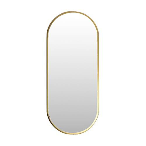 Nordic Metal Espejo para Colgar en la Pared Espejo Ovalado para Maquillaje Espejo de baño HD Dorado...