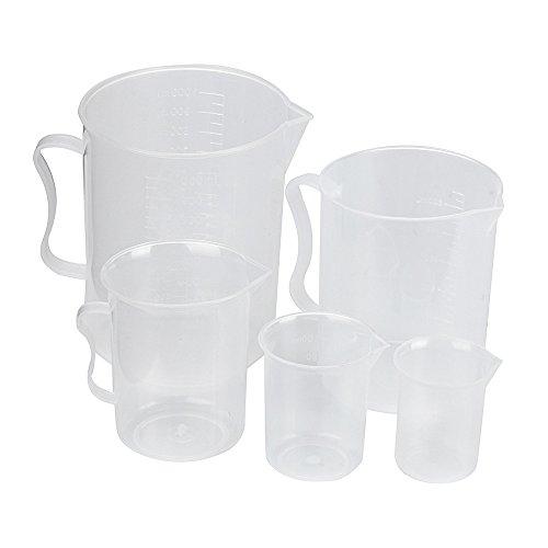 FiedFikt Messbecher-Set aus Kunststoff, Fassungsvermögen 50 ml/100 ml/250 ml/500 ml und 1000 ml Messbecher, 5-teilig Oxo-2-oz-good Grips
