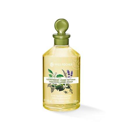 Yves Rocher LES PLAISIRS NATURE Pflanzliches Körper-/Massage-Öl Orangenblüte, Lavendel & Petitgrain, Körper-Öl, 1 x Flacon 150 ml -
