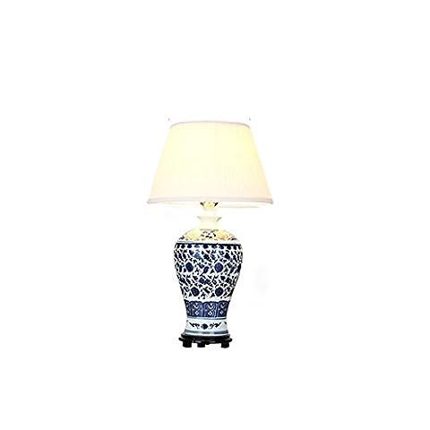LEGELY Lampe de table en porcelaine bleue et blanche, bleu, style minimaliste chinois moderne, salon chambre hôtel éclairage décoratif, 30W, lumière chaude / blanc, E27