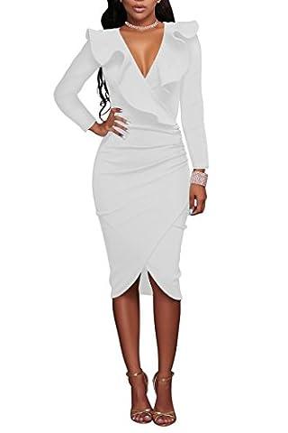 YMING Women Clubwear Long Sleeve Sexy Deep V Party Dress Midi Dress Formal Pencil Dress,White,XXL / UK
