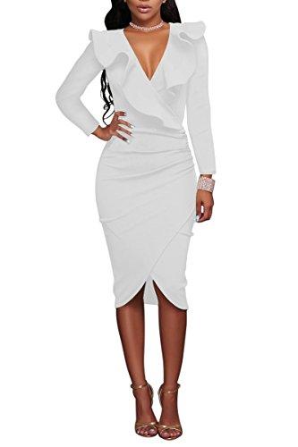 YMING Damen Langarm Kleid Volant kleid Bodycon Bleistiftkleid Sexy Partykleid Elegante Bleistiftkleid,Weiß,L / DE 40-42 Plus Size Club Kleider In Weiß