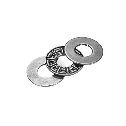 ZCHXD AXK0819+2AS Needle Roller Thrust Bearings with 2 Washers, 8mm Inner Diameter, 19mm OD, 3.5mm of Thickness, GCr15 Hardness -