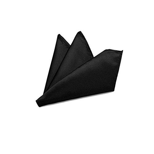 Rusty Bob - Einstecktuch einfarbig - Tuch aus Polyester - Kavalierstuch Pochette Stecktuch - Taschentuch - schwarz- (uni) (Schwarzes Einstecktuch)
