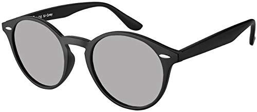 Original La Optica UV400 Unisex Retro Sonnenbrille Rund - Farben, Einzel-/Doppelpacks, Verspiegelt (Einzelpack Matt Schwarz (Gläser: Silber verspiegelt))