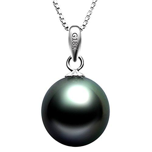 Paialco oro bianco 18k collana di perle di tahiti con perla nera pendente 8-9mm