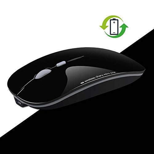 Woosh ULTRAFIN Mute Button Kabellos Maus, 600 mA wiederaufladbarer Lithium-Akku für Windows, Mac Os und Android 4.0 Os up, Schwarz -