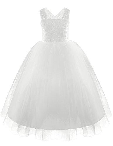81b70446c643a iiniim Robe de Cérémonie Princesse Enfant Fille Ivoire Tulle Dentelle  Florale Robe Dos Nu Criss Cross