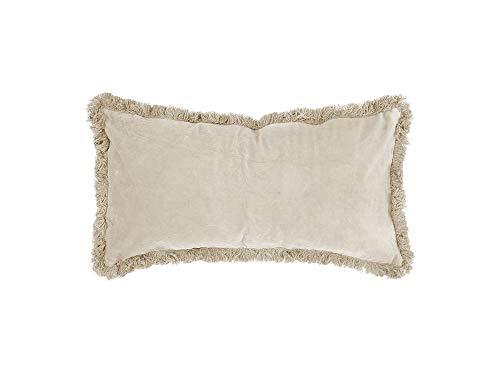 Present Time - Kissen Luxurious mit Fransen - Samt - Elfenbein - 60 x 30 cm -